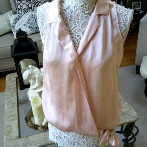 GORGEOUS Pink SILKY Tie WAIST Blouse BY NY& CO